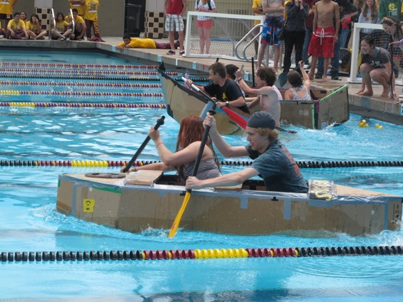 StruggleBus in cardboard boat races at Menlo-Atherton High School