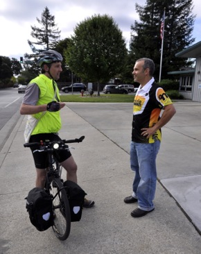 cyclist and bike club guy