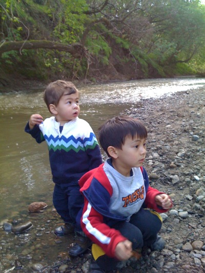 kids love playing near creek