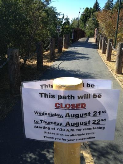 Spotted: Notice of San Francisquito Creek bridge closure in Menlo Park
