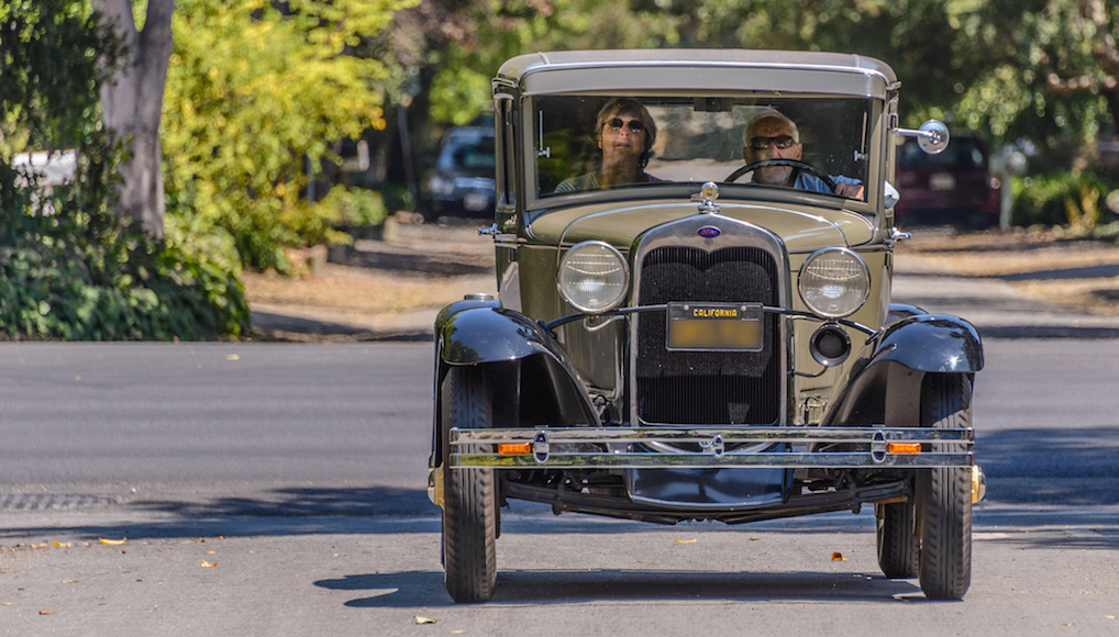 Riding with the Ford Model A's along the streets of Atherton