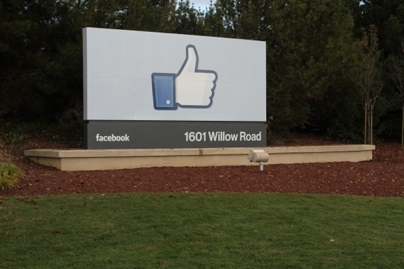 Facebook Like sign in Willow Road in Menlo Park, CA