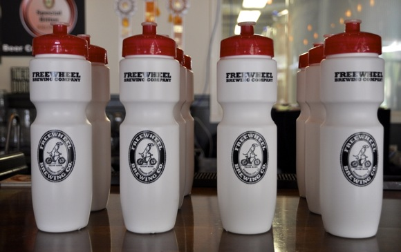 Freewheel Brewing Company water bottles
