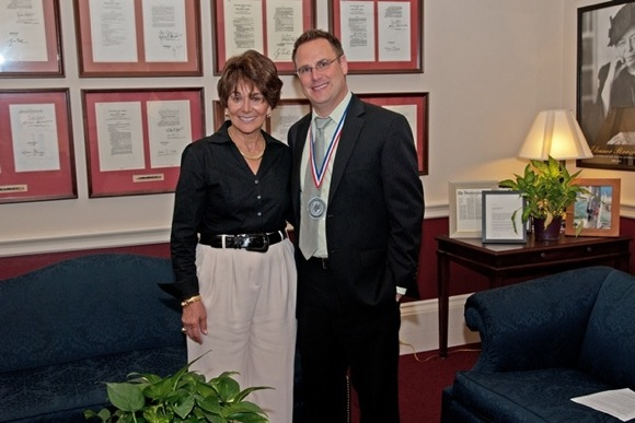 Hillview School principal Erik Burmeister with U.S Representative Anna Eshoo