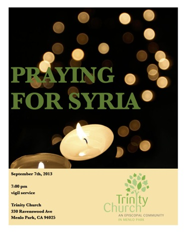 Post image for Trinity Church to hold prayer vigil for Syria on Saturday, Sept. 7