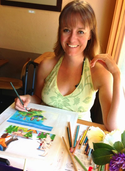 Spotted: Artist at work at Cafe Zoe in Menlo Park