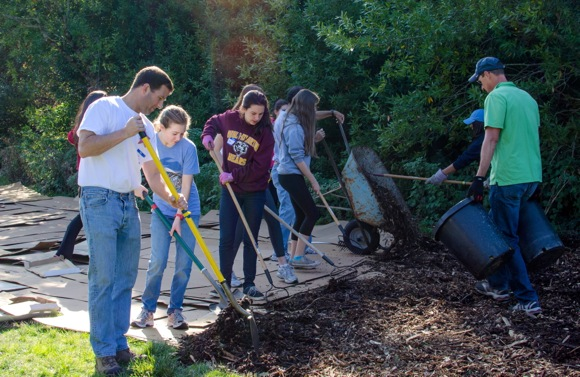 Local teens and dads work on community service project together at Foothills Park