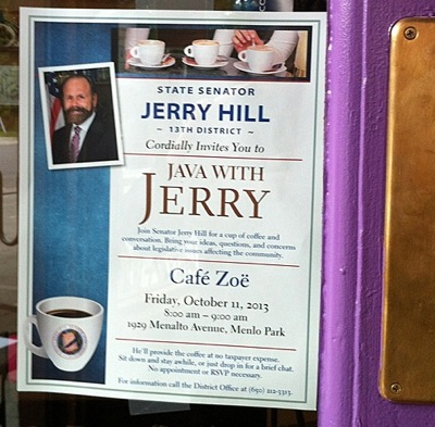 Sen. Jerry Hill breakfast poster