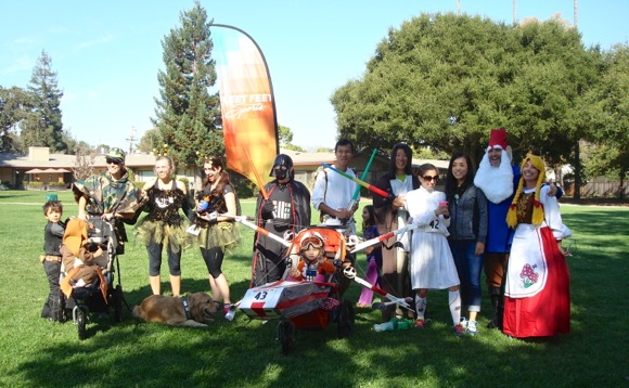 Costume winners at Fleet Feet Ghost Run in Menlo Park