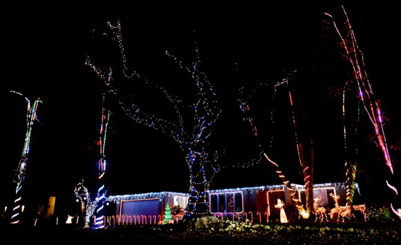 Decorated front yards light up the night on Christmas Eve in Menlo Park