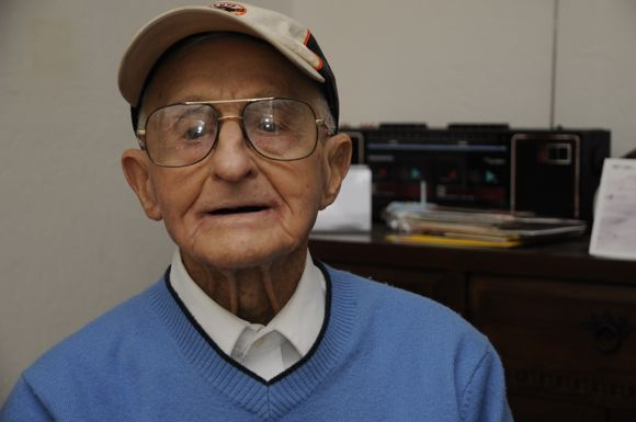 Atherton resident Lou Matis photographed in 2014 two days before he turned 100