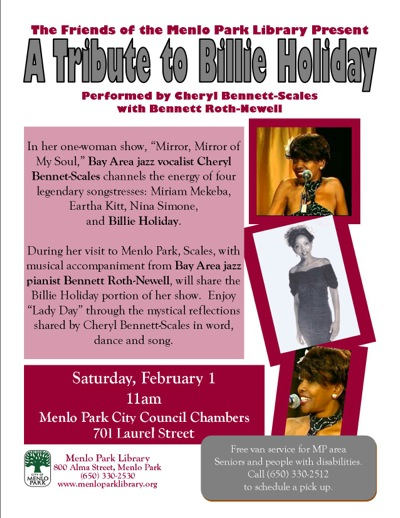 Billie Holiday tribute takes place in Menlo Park on February 1st