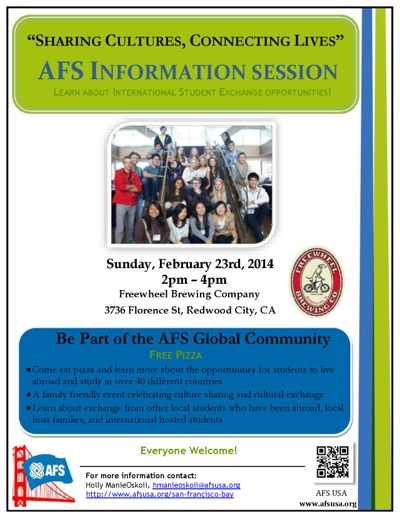 Post image for AFS information event scheduled for Sunday, Feb. 23