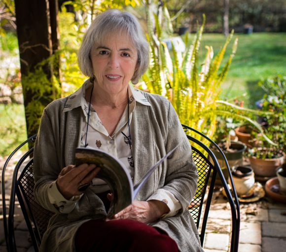 poet Charlotte Muse in her Menlo Park backyard