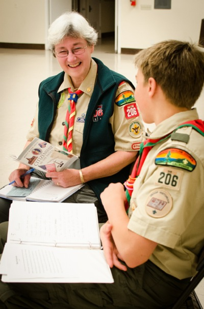 Emma Shelton with member of Boy Scout Troop 206