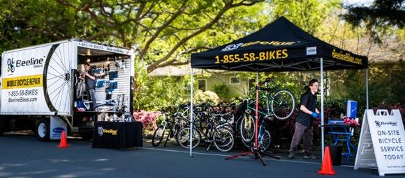 Spotted: Beeline Bikes doing repairs in west Menlo Park