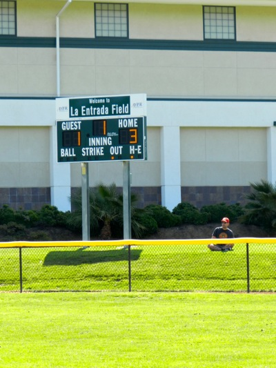 new scoreboard at La Entrada Field