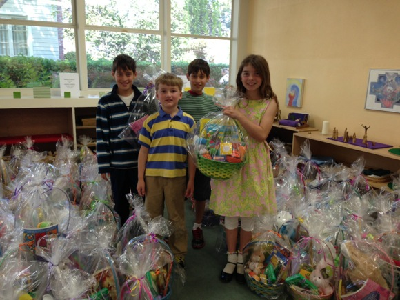 Post image for Trinity Church kids put Easter baskets together for shelter kids