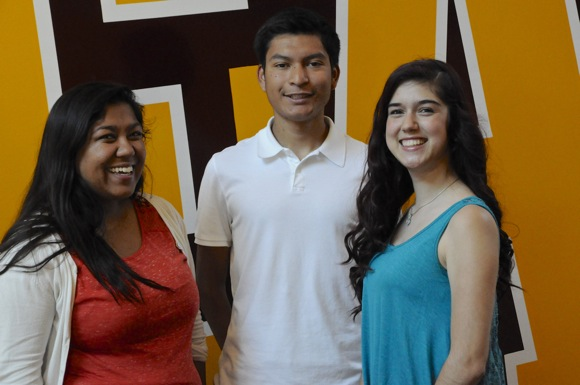 Visiting with the three Peninsula College Fund scholarship recipients who are M-A grads