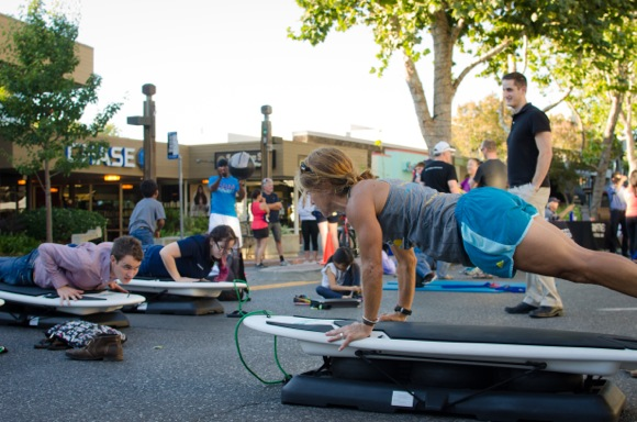 Kids and adults turn out for first Family Fitness night in downtown Menlo Park