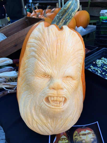 Spotted: Chewbacca pumpkin face at Menlo Park Farmers' Market