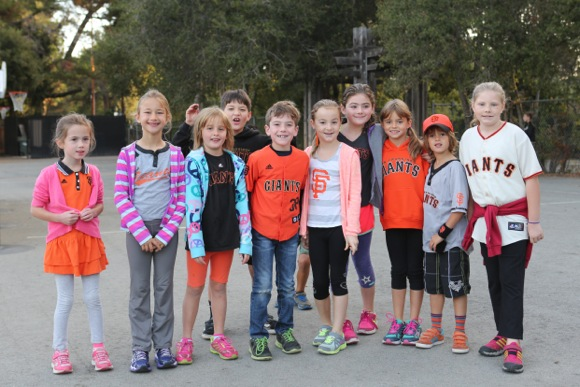 "Post image for ""Go Giants!"" shout Laurel School kids decked out in orange and black (and some pink!)"