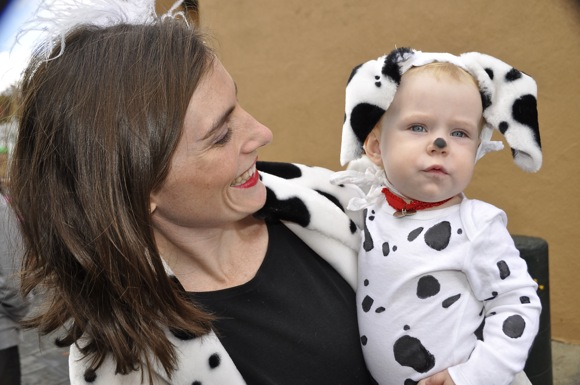 Mom and tot in dog costume_lead