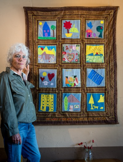 Post image for Naomi Zamir displays quilts at Café Zoë to raise awareness about the Day Worker Center of Mountain View