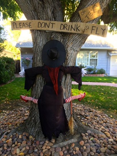 Spotted: Witch with a warning on a Menlo Park tree