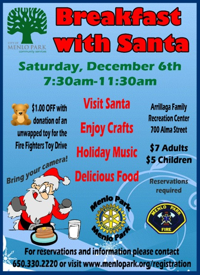 Post image for Breakfast with Santa scheduled for Dec. 6 in Menlo Park