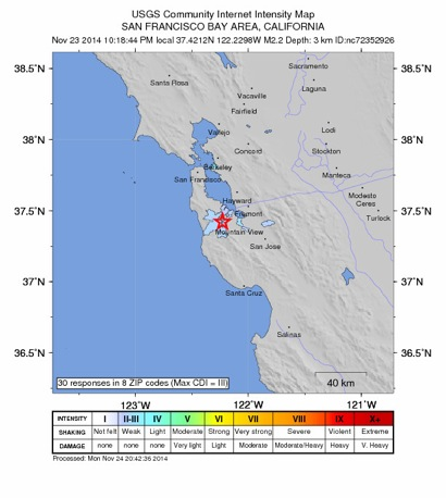 Post image for Small 2.2 earthquake just west of Menlo Park
