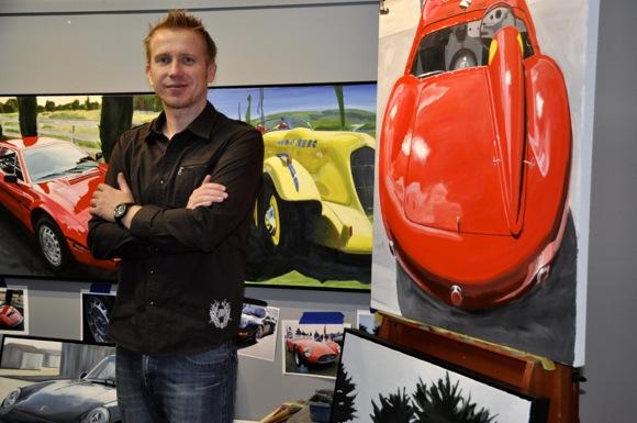 Artist James Caldwell paints portraits of automobiles