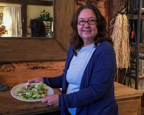 Spotted: Jackie from Harvest enjoying special, hand-delivered salad