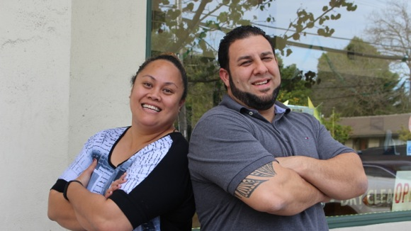 Nona and Erik Ybarra, business owners at Menalto Corners in Menlo Park