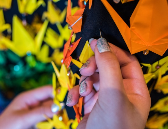 Sewing the origami crane dress