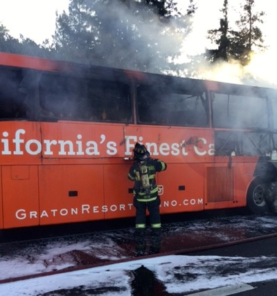 Post image for Casino bus catches fire on southbound 101 in Menlo Park, snarling traffic