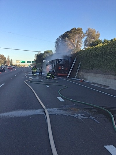 Casino bus catches fire on southbound 101 in Menlo Park, snarling traffic
