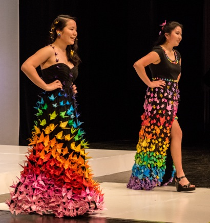 Origami crane dresses are one highlight of successful M-A fashion show