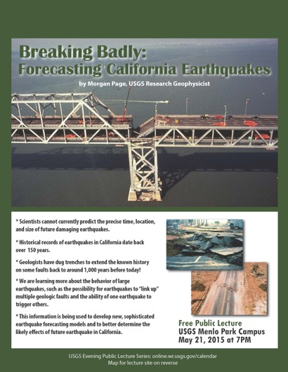 Post image for USGS evening public lecture on May 21 focuses on forecasting California earthquakes