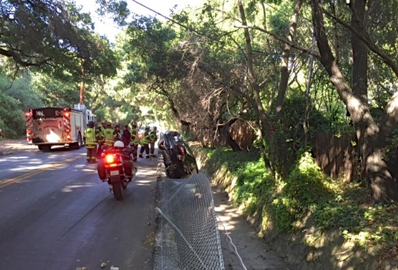 Car careens into Marsh Road ditch – traffic alert issued due to road closure