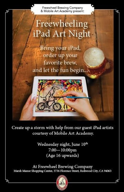 Post image for Learn iPad art at Freewheel Brewing Company on Wednesday, June 10