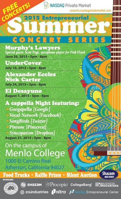 Menlo College hosts free summer concerts starting Friday, June 26