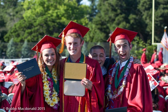 """It's a wrap"" signals smiles at Menlo-Atherton High School graduation"