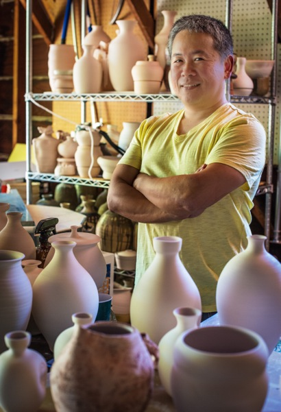 Applied physics professor Hideo Mabuchi is also a ceramicist