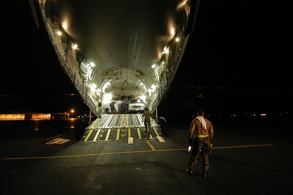 huge airplane open