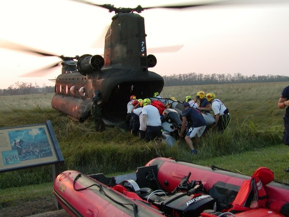 rafts with helicopter