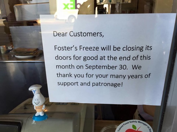 Post image for Oh, no! Foster's Freeze in Menlo Park is closing