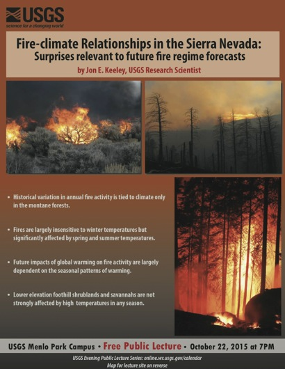 Post image for Fire-climate relationships in the Sierra Nevada is next USGS evening public lecture