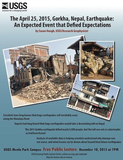 Post image for USGS evening public lecture on Dec. 10 examines Nepal earthquake