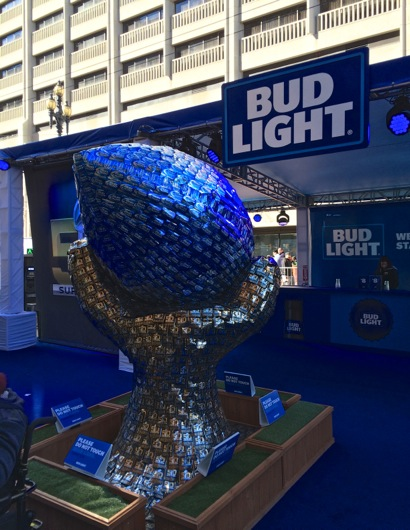 Bud Light sculpture of beer cans by L